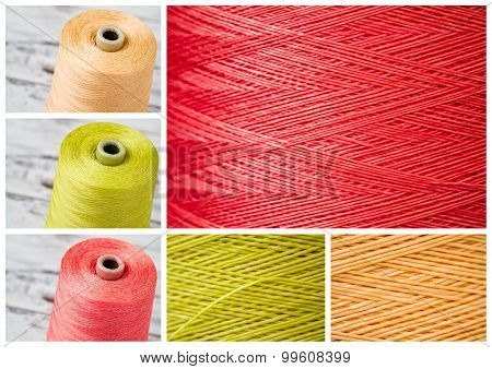 Collage From Spools And Close Ups Of Synthetic Colorful Threads