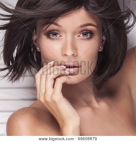 Closeup Beauty Portrait Of Brunette Lady.