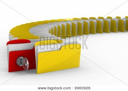 Computer Folder With Key. Isolated 3D Image