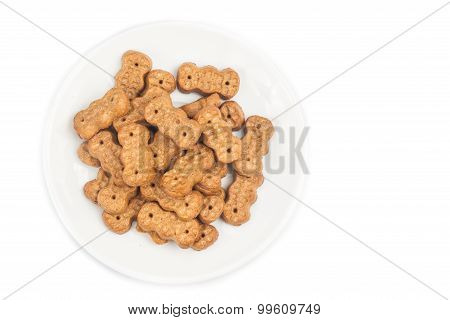 Groundnut Shaped Biscuit On Plate Isolated In White
