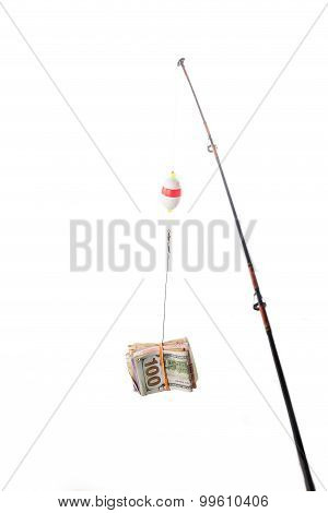 Concept Of Fishing Line With Money Currency As Bait Or Incentive