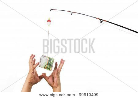 Concept Of Hands Reaching For Money Casted As Bait On Fishing Line