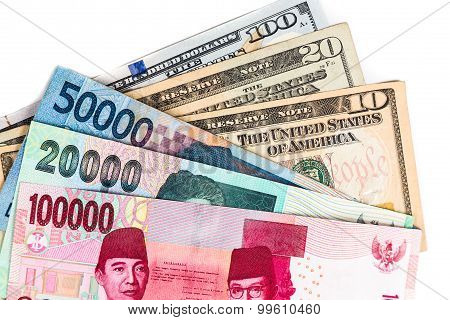 Close Up Of Indonesia Rupiah Currency Note Against Us Dollar