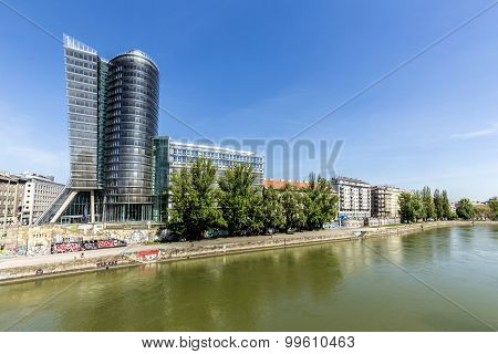 View To Famous Uniqa Tower In Vienna