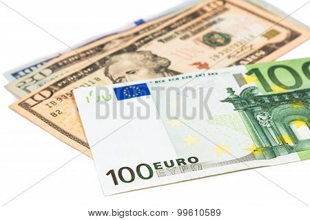 Close Up Of Euro Currency Note Against Us Dollar