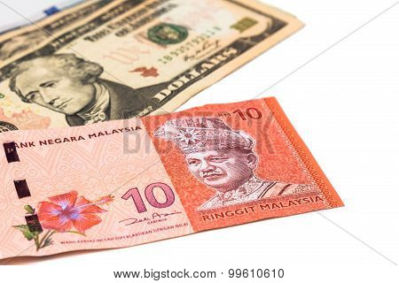 Close Up Of Malaysia Ringgit Currency Note Against Us Dollar