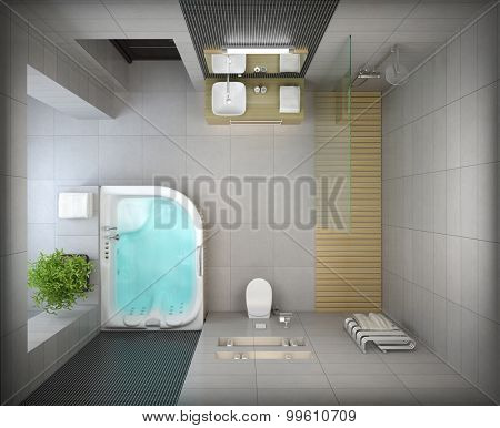 Interior of the modern design  bathroom top view 3D rendering