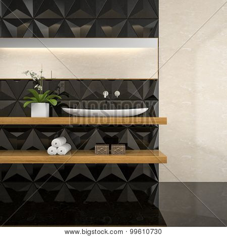 Part of interior of  stylish bathroom 3D rendering