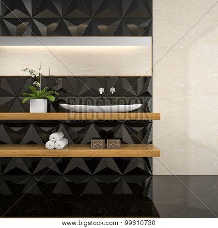 Part of interior of  stylish bathroom 3D rendering