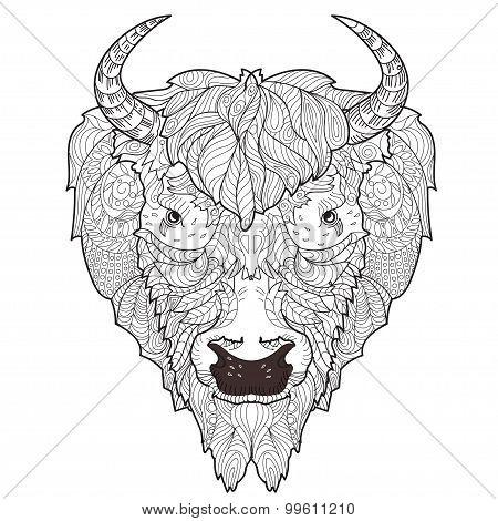 Bison head doodle