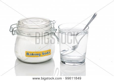 Baking Soda In Jar, Spoonful And Glass Of Water For Multiple Holistic Usages