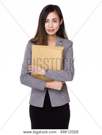 Businesswoman hold with document work