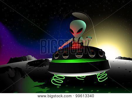 Grey Alien Flying On Moon Surface In A Ufo