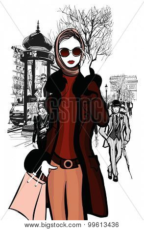 Woman shopping on Champs-elysees in Paris with Arc de Triomphe in the background - vector illustration