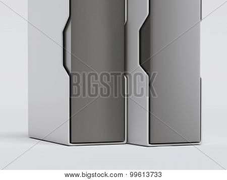 Two white folder with documents