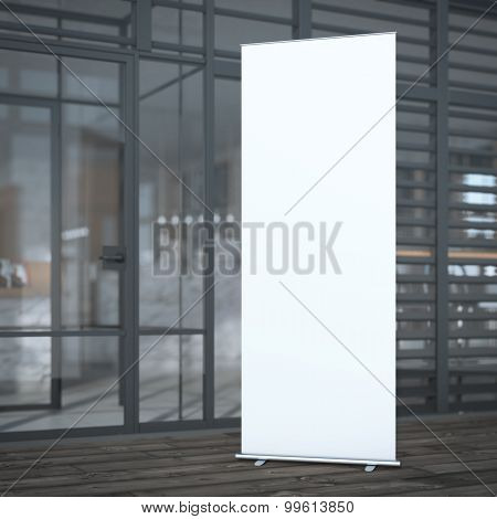 Roll up banner near cafe. 3d rendering