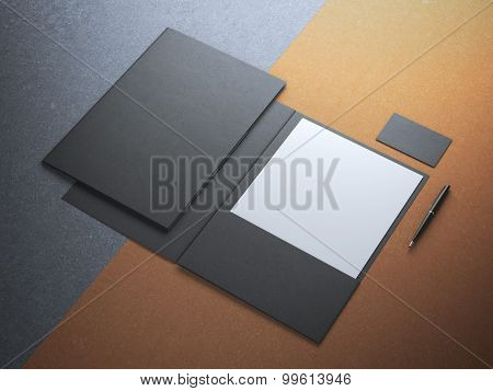 Black folder with white paper sheet