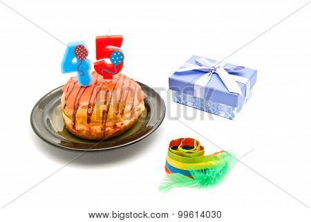 Donut With Forty Five Years Birthday Candle, Whistle And Gift