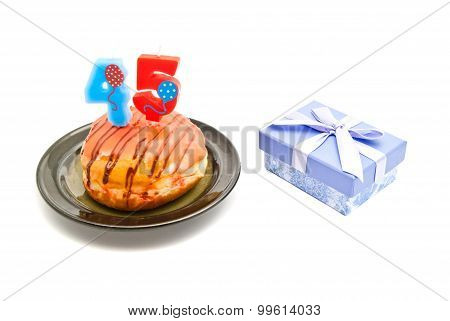 Donut With Forty Five Years Birthday Candle And Gift