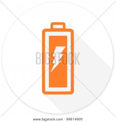 battery flat design modern icon with long shadow for web and mobile app