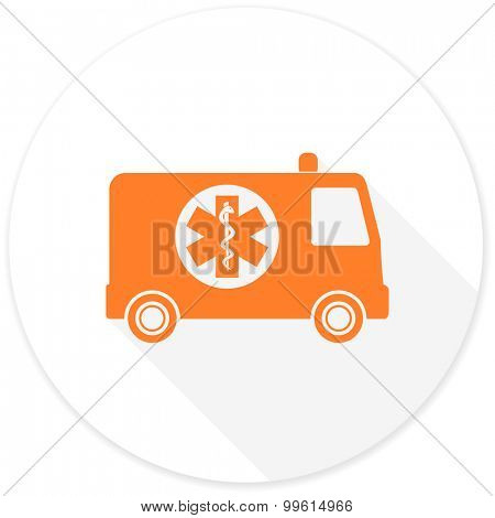 ambulance flat design modern icon with long shadow for web and mobile app