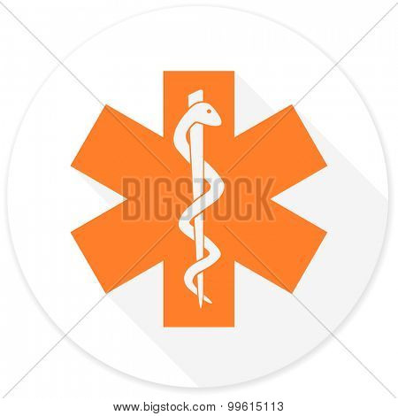 emergency flat design modern icon with long shadow for web and mobile app