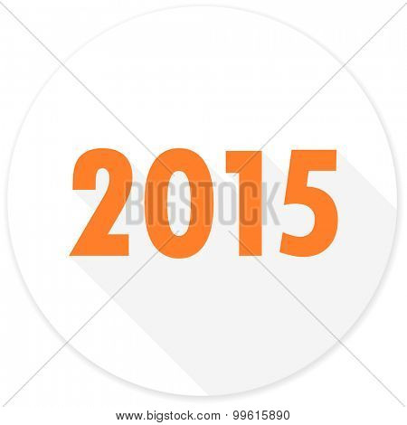 new year 2015 flat design modern icon with long shadow for web and mobile app