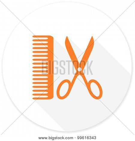 barber flat design modern icon with long shadow for web and mobile app