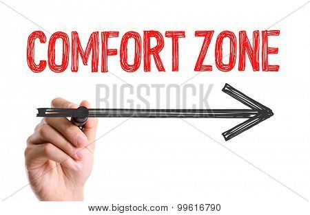 Hand with marker writing the word Comfort Zone
