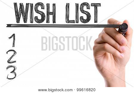 Hand with marker writing the word Wish List