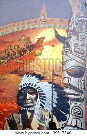 Street art indian chief