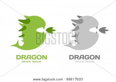 Cute dragon silhouette logo icon. Dragon logotype. Crocodile vector silhouette. Open mouth with fire. Fantasy character mascot. Comic hero.