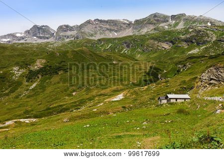 Typical European Alpine landscape, pastures and mountains