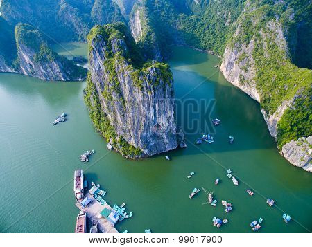 Beautiful seascape from high view in Halong bay, Vietnam