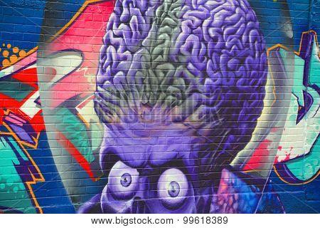 Street art Mars Attacks