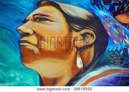 Street art indian woman