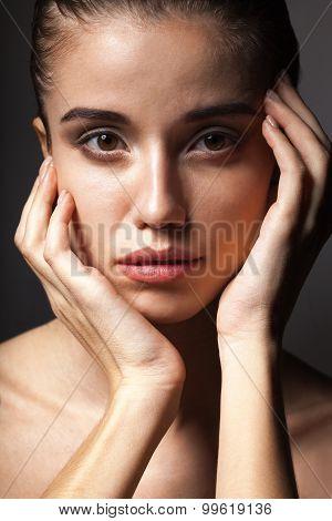 closeup beautiful woman portrait