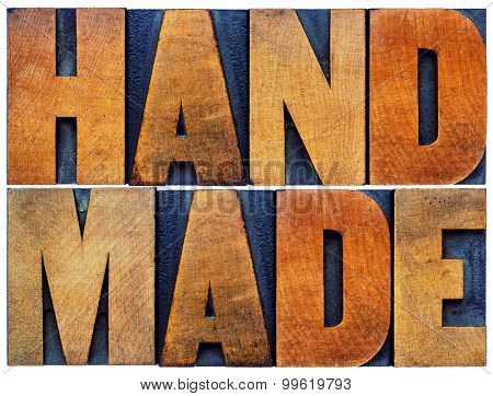 handmade word abstract - isolated text in vintage letterpress wood type printing blocks