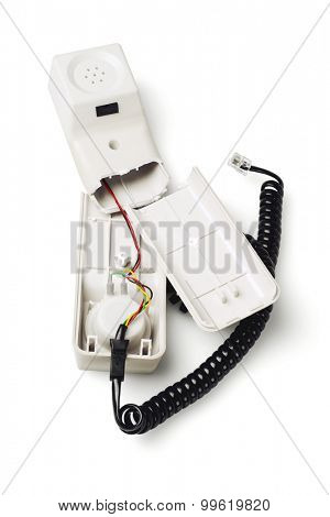 Broken Telephone Handset on White Background