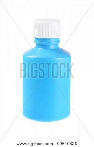 Plastic Bottle for Liquid Medicine on White Background