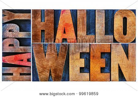 Happy Halloween greeting card -  isolated text in vintage grunge wood type printing blocks stained by color inks