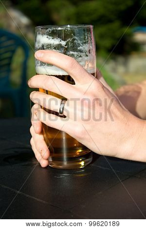 Hands On The Glass Of Beer