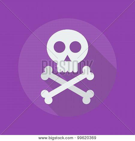 Halloween Flat Icon. Crossbones And Skull