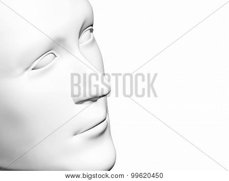 Human head of white color. Isolated on white
