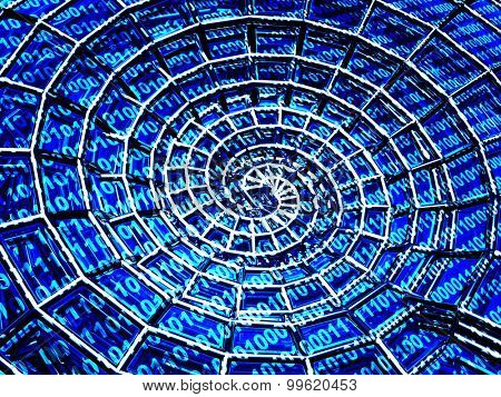 Abstract 3d spiral shell from a blue grid and binary code