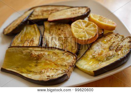 Roasted eggplant with olive oil, salt and lemon