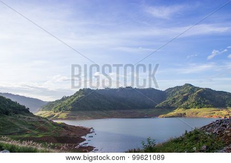 The Reservoir Is Between The Valley In Nakhon Nayok, Thailand