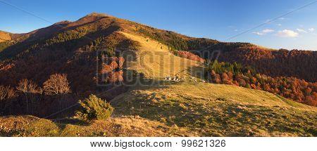 Mountain village. Landscape view of autumn. The village of shepherds. Carpathians, Ukraine, Europe. Sunny evening