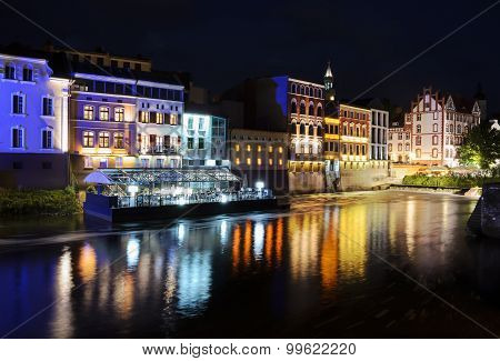 Night View On The Centre Of Opole City, And Odra River