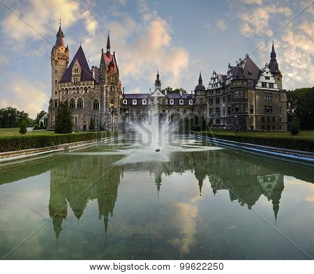Fabulous Castle In Moszna In The Evening, Near Opole, Poland